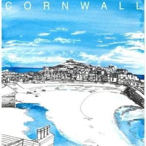 St Ives Cornwall Tea Towel Souvenir