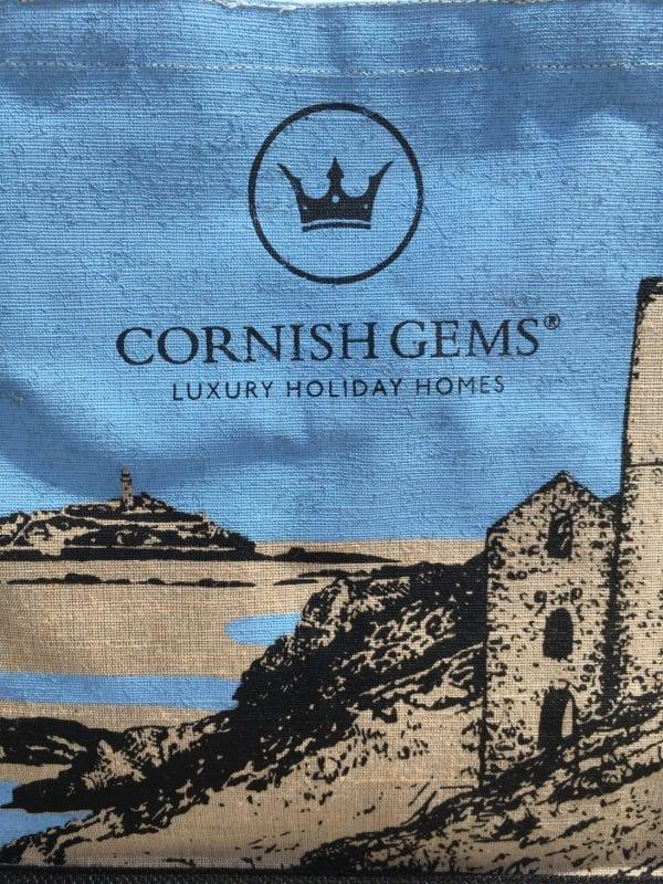Cornish Gems souvenir Cornwall jute bag