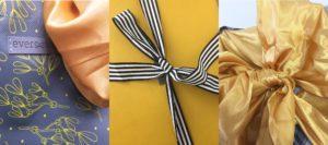 Yellow gift box bag set